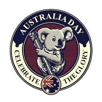 Mascotte di koala per distintivo di giorno dell'australia