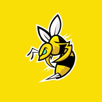 Mascotte di logo arrabbiato ape e sport