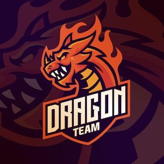 Mascotte di logo del drago per il modello di gioco squadra esport vettore