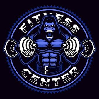 Mascotte di sport di un bodybuilder di gorilla con manubri su sfondo scuro.