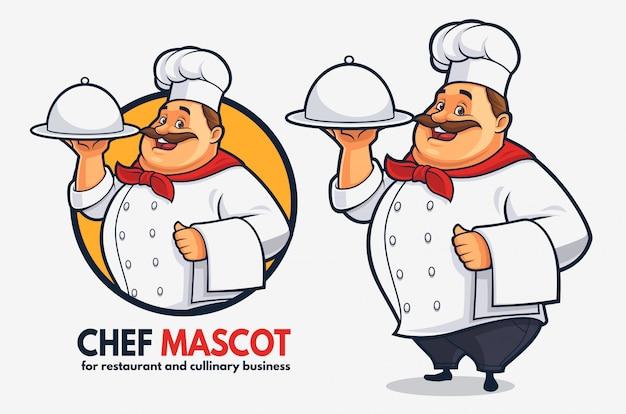Mascotte divertente dello chef per affari e ristorante cullinary, mascotte dello chef grasso