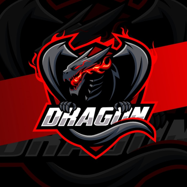 Mascotte drago esport logo design