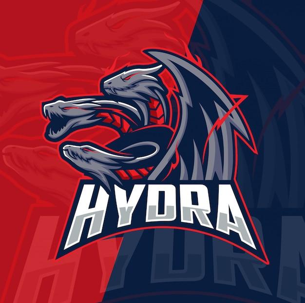 Mascotte drago idra esport logo design