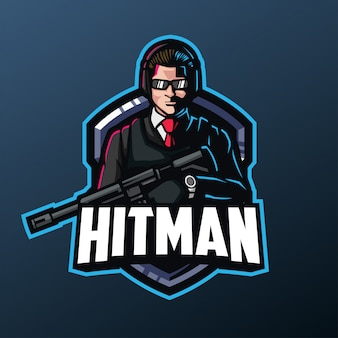 Mascotte hitman per logo sport ed esports isolato su sfondo scuro