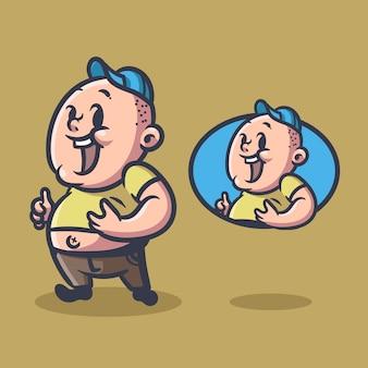 Mascotte illustrazione uomo grasso