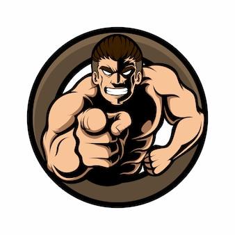 Mascotte logo uomo con muscolo