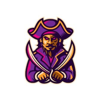 Mascotte pirata esport logo modello illustrazione vettoriale