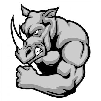 Mascotte rinoceronte che mostra il suo braccio muscolare