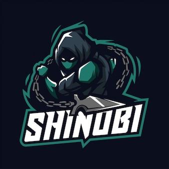 Mascotte shinobi per sport ed esports logo isolato