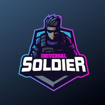 Mascotte soldato universale per logo sport ed esports