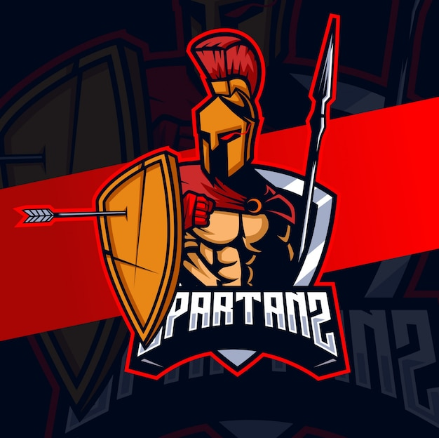 Mascotte spartana esport logo design