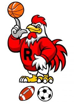 Mascotte sportiva del gallo con la varia palla di sport