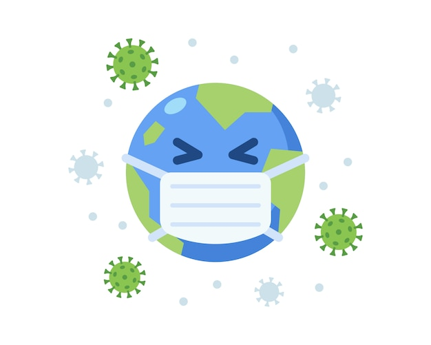 Mascotte sveglia della terra che indossa maschera chirurgica durante la pandemia di coronavirus