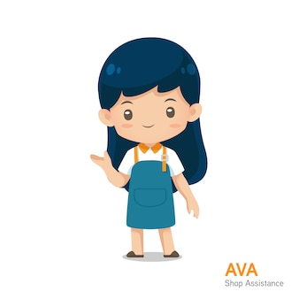 Mascotte sveglia di assistenza del negozio del fumetto in uniforme del grembiule nella presentazione dell'uso di azione per l'illustrazione