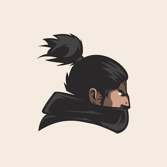 Mascotte testa samurai gioco logo esport