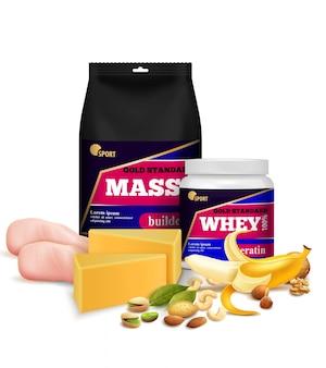 Massa muscolare di sport fitness che guadagna composizione realistica di alimenti ricchi di proteine con integratori e noci di carne di formaggio