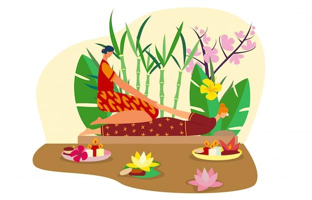 Massaggiatore della tailandia, donna tailandese del carattere, ragazza asiatica, posto della stazione termale, isolato sull'illustrazione bianca e piana. bambù, foglia di palma.