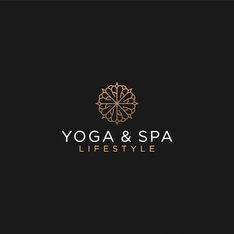 Massaggio spa yoga logo trattamento, alternativa medica tradizionale lusso femminile
