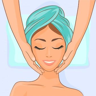 Massaggio viso nella spa