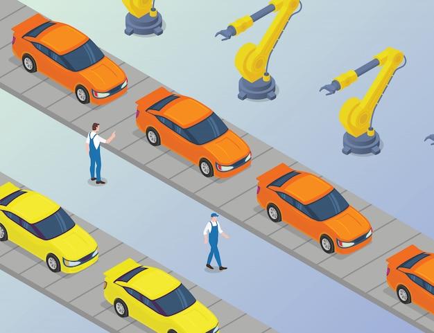 Massiccia produzione di auto in fabbrica con sviluppo di macchine a braccio robotizzato con moderno stile isometrico