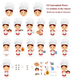 Master chef, cook woman. personaggio dei cartoni animati della mascotte
