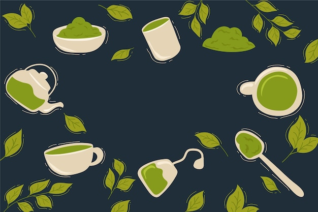Matcha tea design di sfondo