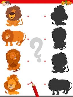 Matching shadows gioco educativo con i leoni