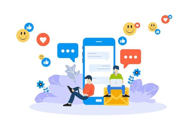 Materiale di marketing, pubblicità online, concetto di social networking