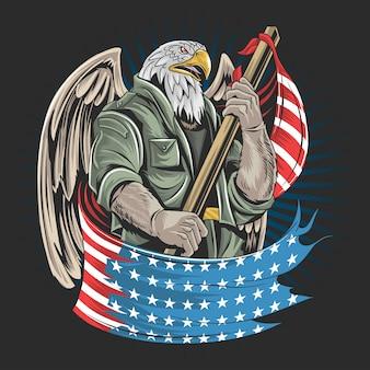 Materiale illustrativo del soldato dell'esercito di eagle america usa per la festa dei veterani, la festa dell'indipendenza o il giorno dei caduti