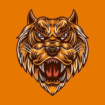 Materiale illustrativo della mascotte di alto dettaglio di colore isolato illustrazione capa del leone