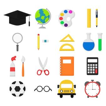 Materiale scolastico. bus, calcolatrice, lente d'ingrandimento, gomma, penne, pennello, forbici, righello, taccuino, globo, acquerello, occhiali e altri. oggetti di educazione isolati