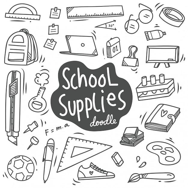 Materiale scolastico doodle, torna a elemento di vettore di scuola