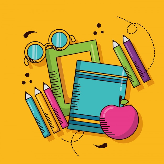 Materiale scolastico, libri, matite, mela