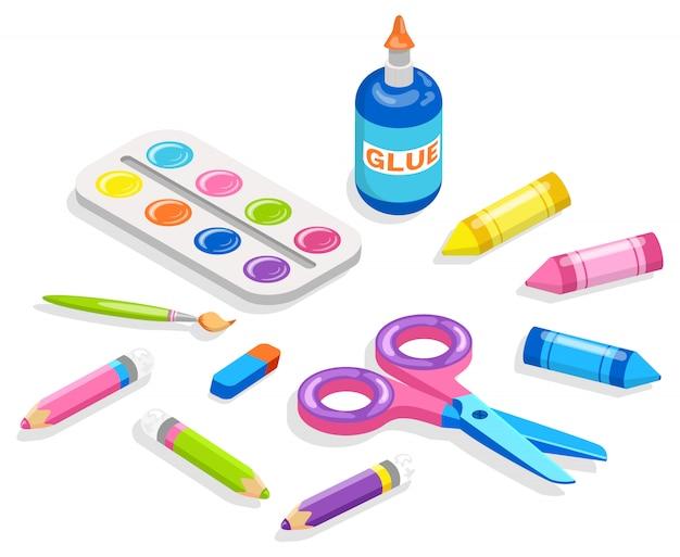 Materiale scolastico per pittura e applicazione