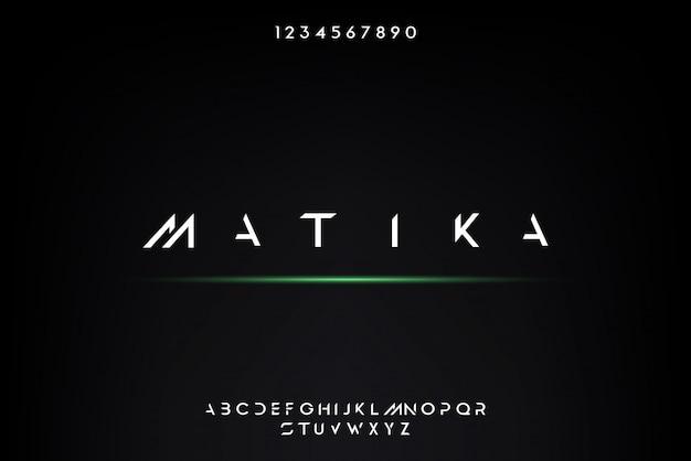 Matika, un carattere alfabeto futuristico astratto con tema tecnologico. moderno design tipografico minimalista