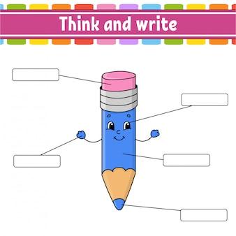 Matita divertente. pensa e scrivi. parte del corpo. imparare le parole. foglio di lavoro per l'istruzione.