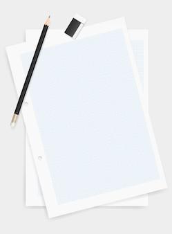 Matita e gomma sul fondo della carta da disegno.