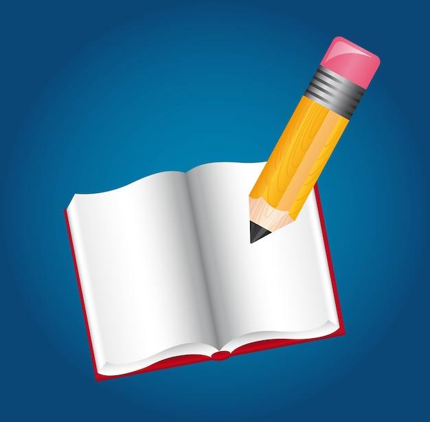 Matita e libro sopra illustrazione vettoriale sfondo blu