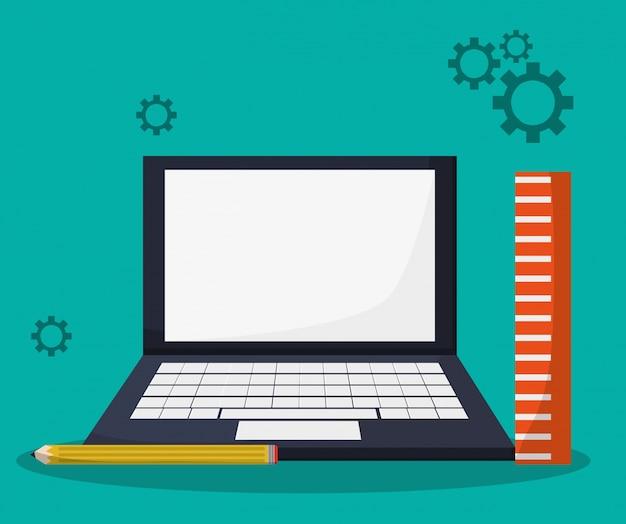 Matita righello per l'apprendimento di laptop