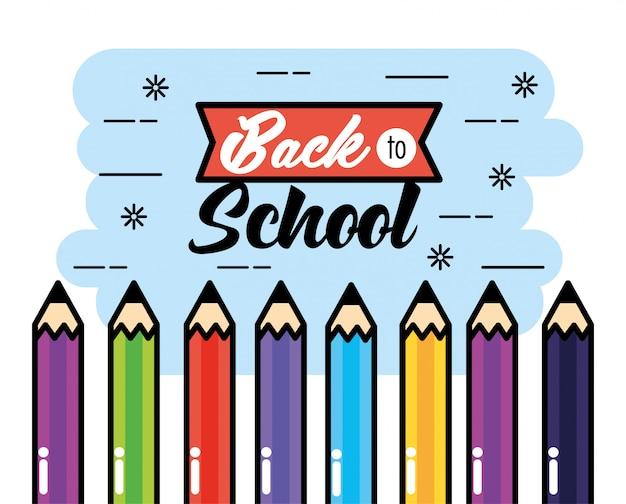 Matite di colori a fondo di scuola posteriore