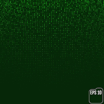 Matrice di bagliore al neon con codice binario verde. effetto volume