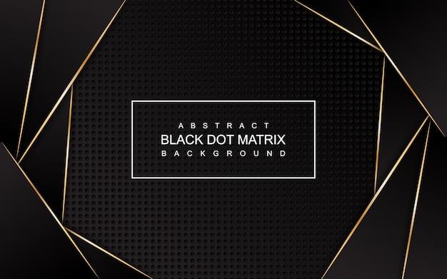 Matrice di punti nera astratta con sfondo di linee d'oro