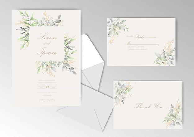 Matrimonio elegante dell'acquerello stazionario con belle foglie