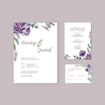 Matrimonio floreale della carta dell'invito del giardino della carta di nozze felice, dettaglio di rsvp.