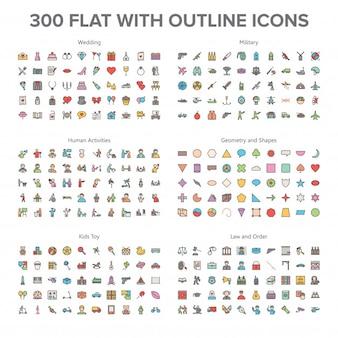 Matrimonio, militari, attività umane e giocattoli per bambini 300 flat with outline icons bundle