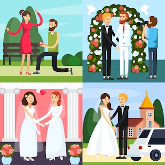 Matrimonio persone set di icone ortogonali