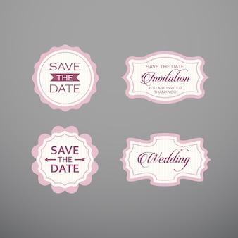 Matrimonio set di etichette, scudetti, design.