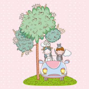 Matrimonio uomo e donna in macchina con le nuvole