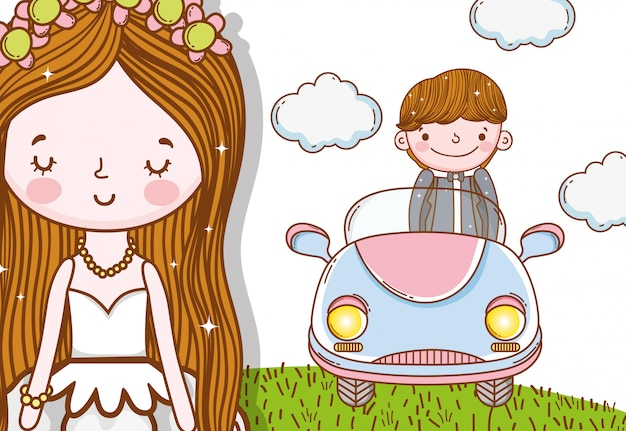 Matrimonio uomo e uomo con auto e nuvole