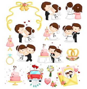 Matrimonio vector set